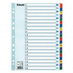 Zesílené kartonové rejstříky A4 Esselte Mylar, 1 - 20 číselné třídění