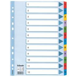 Zesílené kartonové rejstříky A4 Esselte Mylar, 1 - 12 číselné třídění
