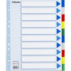 Plastové barevné rozlišovače Esselte, A4 Maxi, 10 barevných listů