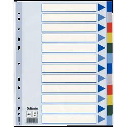 Plastové barevné rozlišovače A4 Esselte, 12 barevných listů
