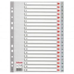 Plastové rejstříky A4 Esselte, 1- 20 dělících listů