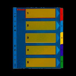 Kartonové rejstříky Esselte Mylar s přepisovatelným předním listem A4 MAXI, 1-5 barev