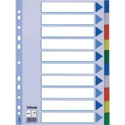 Plastové barevné rozlišovače A4 Esselte, 10 barevných listů