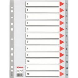 Plastové rejstříky A4 Esselte, 1- 12 dělících listů