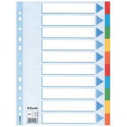 Kartonové barevné rozlišovače A4 Esselte, 10 barevných listů