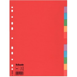 Kartonové barevné rozlišovače A4 Esselte Economy, 12 barevných listů