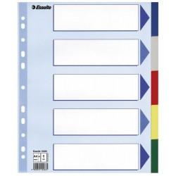 Plastové barevné rozlišovače Esselte, A4 Maxi, 5 barevných listů
