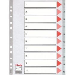 Plastové rejstříky A4 Esselte, 1- 10 dělících listů