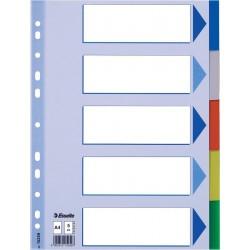 Plastové barevné rozlišovače A4 Esselte, 5 barevných listů