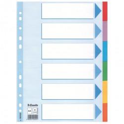 Kartonové barevné rozlišovače A4 Esselte, 6 barevných listů