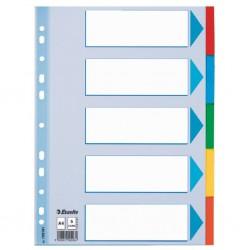 Kartonové barevné rozlišovače A4 Esselte, 5 barevných listů