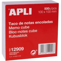 APLI 12909, Poznámková kostka bílá, lepená, velký rozměr 100x100 mm