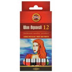 KOH-I-NOOR souprava uměleckých voskových pastel WAX akvarelových papírová krabička, 12 barev