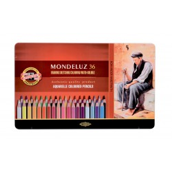 KOH-I-NOOR 3725, souprava pastelek akvarelových Mondeluz, 36 barev, kovová krabička