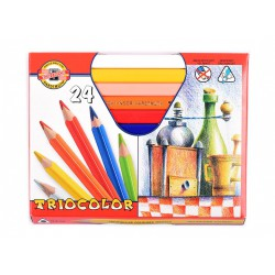 KOH-I-NOOR 3154, souprava pastelek trojhranných Triocolor lakovaných, 24 barev