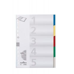 DURABLE 6730, Rozdružovač A4 s barevnými rozlišovači 1-5 barev