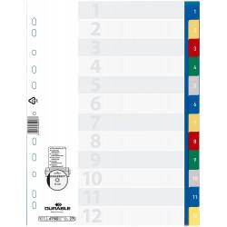 DURABLE 6750, Rozdružovač A4 s barevnými rozlišovači 1-12, mix 5 barev