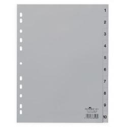 DURABLE 6511, Rozdružovač plastový šedý, PP A4 euroděrování, 1-10 čísel