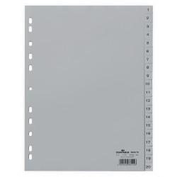 DURABLE 6522, Rozdružovač plastový šedý, PP A4 euroděrování, 1-20 čísel