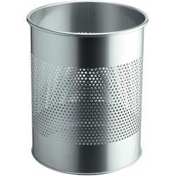 Durable 3310, kovový odpadkový koš 15 litrů kulatý s perforací, stříbrný