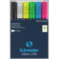 Schneider Maxx 245 Glass Board Marker, sada popisovačů na skleněné plochy, 6 barev