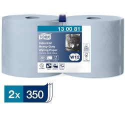 Tork Heavy-Duty 130081 průmyslová papírová utěrka modrá, 350 útržků, balení 2 role