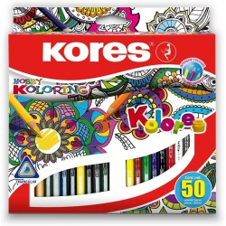 Kores trojhranné pastelky Kolores Mandalas, sada 50 barev