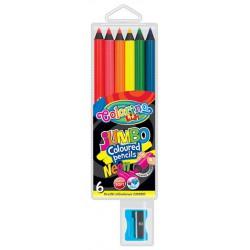 Colorino pastelky neonové JUMBO, kulaté, s ořezávátkem, 6 barev