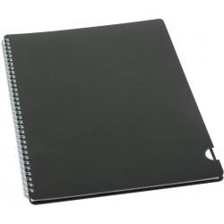 BOBO kroužkový blok Plastic BLACK A4 linkovaný, 60 listů černý
