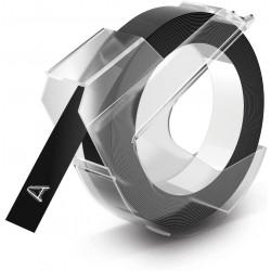 Páska Dymo 3D, Reliéfní štítky 9 mm x 3 m, černá, Omega