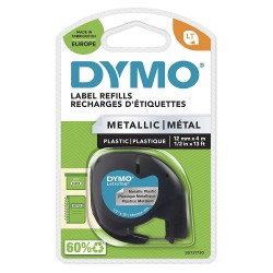 Dymo LetraTag páska metalická 12mm x 4m, stříbrná, S0721730