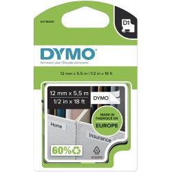 Dymo páska D1 trvanlivý polyester 12mm x 5,5m,  černá na bílé, S0718060