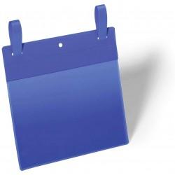 Durable 1749, závěsná plastová kapsa na dokumenty s upínacími popruhy A5 na šířku, modrá