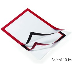 Durable 4882, samolepící kapsa DURAFRAME s magnetickým rámečkem A4, balení 10 ks, červená