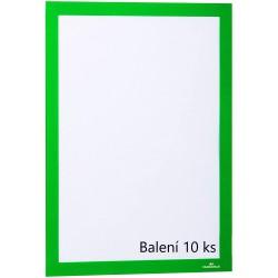 Durable 4882, samolepící kapsa DURAFRAME s magnetickým rámečkem A4, balení 10 ks, zelená