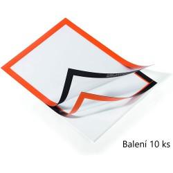 Durable 4882, samolepící kapsa DURAFRAME s magnetickým rámečkem A4, balení 10 ks, oranžová