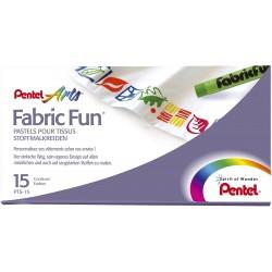 Pentel voskovky na textil, PTS-15, sada 15 barev