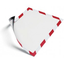 Durable 4945, magnetický rámeček DURAFRAME MAGNETIC SECURITY červeno bílý, balení 5 ks