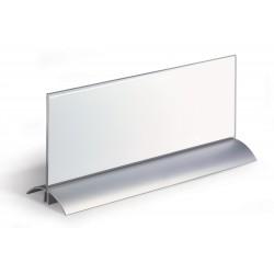 DURABLE 8203, akrylová jmenovka na stůl DE LUXE 105x297 mm, hliníkový stojan