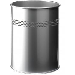 Durable 3300, odpadkový koš METAL ROUND 15 litrů stříbrný