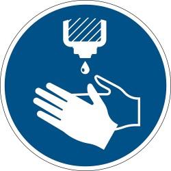 Durable 103806, podlahová značka - Používejte dezinfekci rukou, průměr 43 cm, odnímatelná