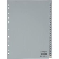DURABLE 6523, Rozdružovač plastový šedý, PP A4 euroděrování, 1-31 čísel