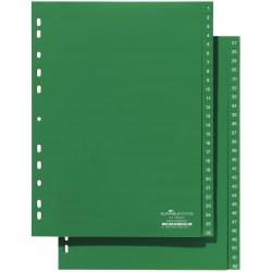 DURABLE 6157, Rozdružovač plastový zelený, PP A4 euroděrování, 1-51 čísel